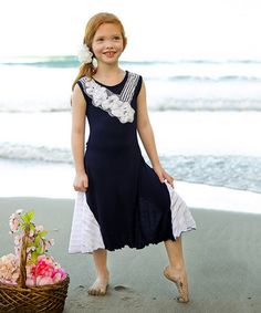 Another great find on #zulily! Navy & White Ruffle Maxi Dress - Toddler by Mia Belle Baby #zulilyfinds