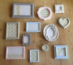 12 Pretty Shabby Chic Vintage Photo Picture Frames Pastel Green Blue Pink Grey
