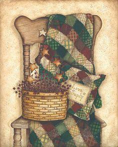 Gjøvik Quiltelag Primitive Folk Art, Country Primitive, Primitive Decor, Country Crafts, Country Art, Tole Painting, Painting On Wood, Pintura Tole, Primitive Pictures