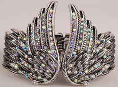Rhinestone Encrusted Angel Wing Bracelet
