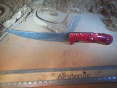 Damascus Fillet Knife with Red Stabilized Aspen wood handles Best Chefs Knife, Tomato Knife, Aspen Wood, Skinning Knife, Fillet Knife, Specialty Knives, Shop Till You Drop, Steel Bar, High Carbon Steel