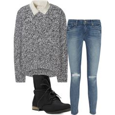 white button-up shirt, grey sweater, black boots, distressed skinny jeans