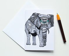 Tribal Elephant Greeting Card  Thank You Card  by PomGraphicDesign  #stationery #pomgraphicdesign #greetingcards