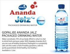 Drink Healthy, Live Healthy ! With Gopaljee Ananda JALZ, you are sure of #Health  #Freshness! Packaged in a completely safe unit this water is full of healthy goodness, with its purity guaranteed. #Jalz #Water