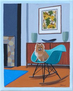 Mid Century Modern Eames Retro Limited Edition Print from Original Painting Pomeranian Shell Chair