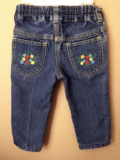 Vintage Apparel Toddler Girl's 80's Jeans Flower by Freshandswanky