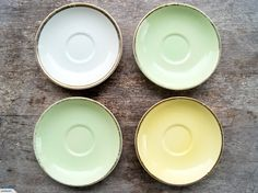 4 x 1950's Crown Lynn Saucers with Gold Trim | Trade Me