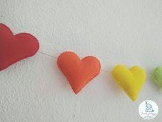Rainbow felt heart garland rainbow nursery rainbow heart | Etsy Baby Shower Garland, Name Bunting, Rainbow Nursery, Rainbow Decorations, Heart Garland, Rainbow Heart, Kids Bedroom, Wool Felt, Nursery Decor