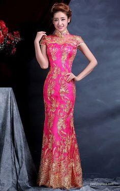 Beautiful Chinese Wedding Dress Chinese Wedding Dress Traditional, Chinese Bride, Traditional Dresses, Wedding Dresses 2014, Bridal Dresses, Cheongsam, Oriental Dress, Beautiful Gowns, Bella