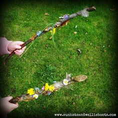 """Sun Hats & Wellie Boots: Make nature wands with sticky-taped sticks ("""",)"""