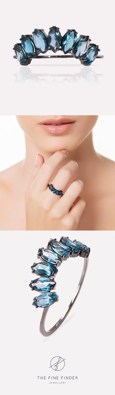 Representing the evolution of a dream which becomes deeper and intense before you wake up again, this arc-shaped ring in 18k black gold with marquise cut London Blue Topaz is delicate in shape and intense in colour! Can be used on its own or stacked, it's up to you!  Also available in white gold.