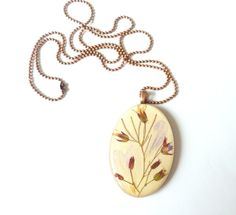 Pressed flower necklace real flowers on wood by FloraBeauty, $26.00