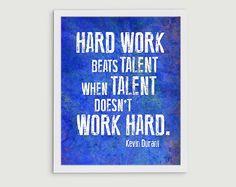 Kevin Durant Basketball Inspirational Quote - Hard Work Beats Talent OKC Thunder 8x10 Print