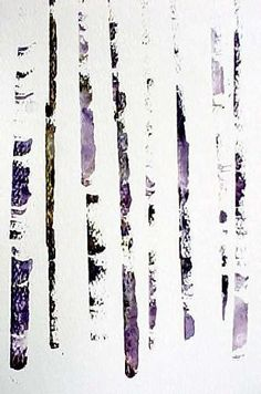 Tree bark with a credit card  Susie Short Watercolors