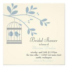 Birdcage and Love Birds Bridal Shower Light Blue Invitations