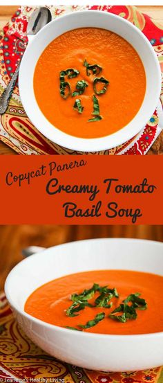 Copycat Panera Bread Creamy Tomato Basil Soup - so creamy and delicious, just like Panera's ~ http://jeanetteshealthyliving.com #fcpinpartners