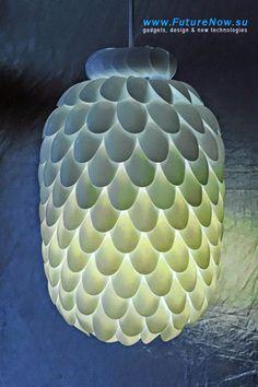 luminaria artesanal com colheres descartaveis