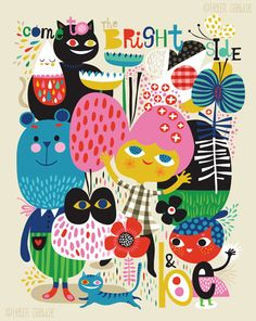 Come to the Bright Side... limited edition giclee por helendardik, $25.00