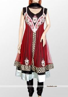 Get different look wearing this dress designed with double layer. Designer pattern red short layer is looking good on green shade. Attractive silver stones and beads work on red shade. Double layered kameez with great combination makes it different from regular suit. Perfection selection for any special occasion. http://goodbells.com/salwar-suits/red-and-green-anarkali-salwar-kameez.html