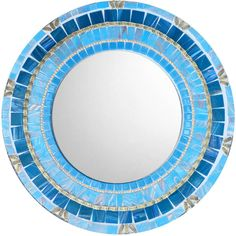 Blue Mosaic Mirror Round Wall Mirror Accent Mirror Blue and Gold Home... (125 CAD) ❤ liked on Polyvore featuring home, home decor, mirrors, home & living, home décor, light blue, blue mosaic mirror, gold home decor, blue home decor and geometric mirror