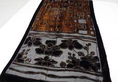"Shawl Wrap Scarf Black Burnout Geometric - Floral $14.89  Design 62"""