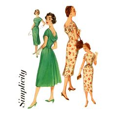 1950S Women evening dress | 1950s Dress Pattern Simplicity 2411 Misses Draped by CynicalGirl