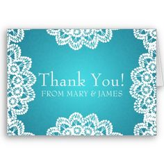 """Wedding """"Thank you"""" Vintage Lace Blue Greeting Card   $3.35"""