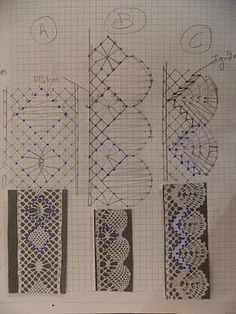 A Bobbin Lace Lover: Como dibujar to un patron / How to draw a pattern Needle Tatting, Needle Lace, Lace Drawing, Bobbin Lacemaking, Bobbin Lace Patterns, Needle Felting Tutorials, Point Lace, Lace Embroidery, Machine Embroidery Designs