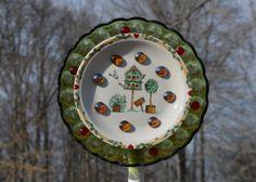 Spring is right around the corner! Glass Yard Art with Birdhouse Scene
