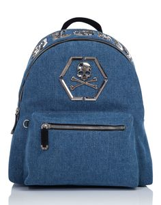 "PHILIPP PLEIN BACKPACK ""ARUE"". #philippplein #bags #leather #lining #denim #backpacks #cotton #"