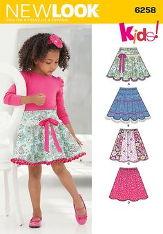 Childs and Girls Circle Skirts New Look Sewing Pattern 6258. Age 3 to 12y.