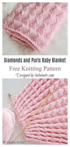 Diamonds and Purls Baby Blanket Free Knitting Pattern startknittingfreepattern easyknittingpatterns knittingblanket Easy Blanket Knitting Patterns, Easy Knit Baby Blanket, Free Baby Blanket Patterns, Knitted Baby Blankets, Knitting Patterns Baby, Baby Knitting Free, Easy Knitting, Knitting Needles, Knitting And Crocheting