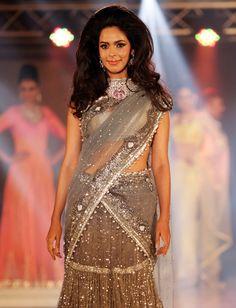 Mallika Sherawat in an ash grey saree with a huge choker neckpiece at a fashion show organised by India International Bullion Summit. Grey Saree, Jewelry Show, Ash Grey, Bollywood Fashion, Fashion Show, Chokers, Sari, Celebs, India