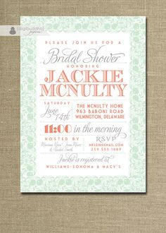 Lace Bridal Shower Invitation Coral Orange by digibuddhaPaperie