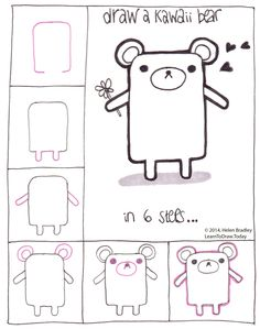 kawaii teddy bear learn to draw