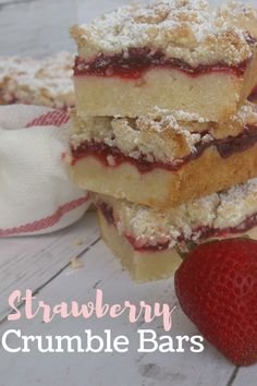 These Strawberry Bars could not be easier to make! The shortbread base and crumble topping comes from the same easy one bowl mix. A layer of sweet strawberry jam makes them look fresh and taste amazing. Works great with blueberry, raspberry, lemon or peach too. Strawberry Bars, Raspberry, Shortbread Crust, How To Make Jam, Bakery Ideas, Crumble Topping, Pinterest Board, Baking Recipes, Blueberry