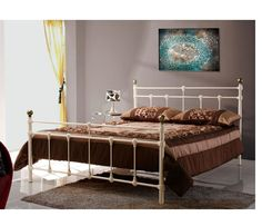 Cosenza Small Double 4ft Light Cream Metal Bed