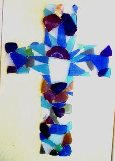 Cross, sea glass