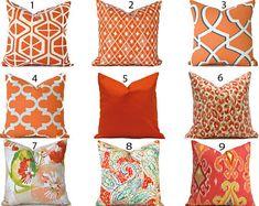 Orange Pillows, Ikat Pillows, Designer Throw Pillows, Fluffy Pillows, Handmade Pillow Covers, Decorative Pillow Covers, Outdoor Pillow Covers, Throw Pillow Covers, Outdoor Fabric