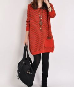 Red sweater dress Knitwear large size sweater by originalstyleshop, $59.50