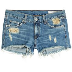 Rag & Bone Distressed Denim Shorts (1.380 NOK) ❤ liked on Polyvore featuring shorts, blue, distressed jean shorts, summer shorts, destroyed jean shorts, cutoff shorts and blue shorts