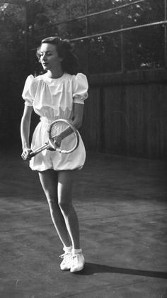 Joan Perry modeling tennis fashions