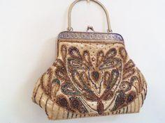 vintage beaded bag vintage beaded purse art deco by Pookieandness