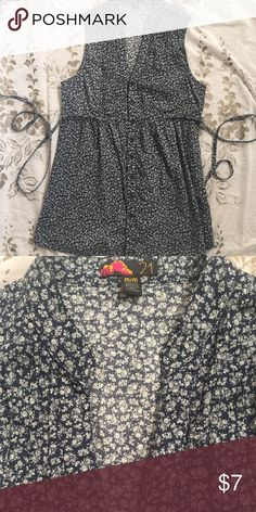 Navy floral tie back top Navy with cream floral print button up, tie back sleeveless top from forever 21- size medium. Really cute and flattering top in good shape with no rips, stains, etc. Worn a handful of times. Forever 21 Tops