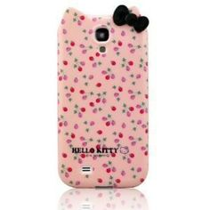 Stylish Cartoon Cat TPU Flowers & Bow Samsung Galaxy S4 SIV i9500 Back Case