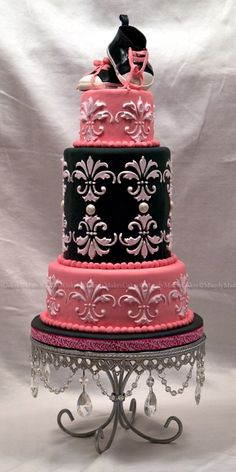 """""""Anna"""" Pink, Black and White Cake by mandymakescakes on CakeCentral.com"""