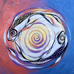 """Pisces and Lust""  (2012)     Original Acrylic Painting on stretched canvas.    Ready-to-hang, 36x36x1.5 inches.     Available: http://www.ipaintfish.com/2012_originals/currentworksforsale_piscesandlust_page.htm"