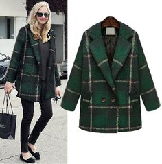 Cheap Retro Checked Wool Coat Middle Long Outwear For Big Sale!Retro Checked Wool Coat Middle Long Outwear-dark green, symbols vitality and youth,while check patterns is interpretation of fashion. Green Wool Coat, Plaid Coat, Winter Coats Women, Coats For Women, Clothes For Women, Style Hippy, Tartan, Ivy League Style, Mode Mantel