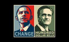 T-Shirt Hell :: Shirts :: CHANGE (OBAMA) - HUNDRED DOLLAR BILLS (ROMNEY)