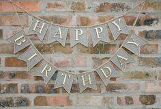 Happy Birthday Banner Happy Birthday Burlap Banner Birthday